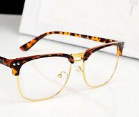 Fashion Hipster Vintage Retro Semi-Rimless Glasses Clear Lens Nerd Geek Eyewear
