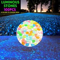 100PCS  Glow In The Dark Pebbles Luminous Stones Garden Walkaway Aquarium  !