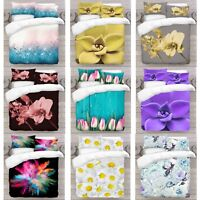 UK Made 3D New Mix Flower Design Photo Digital Duvet Quilt Cover With Pillowcase