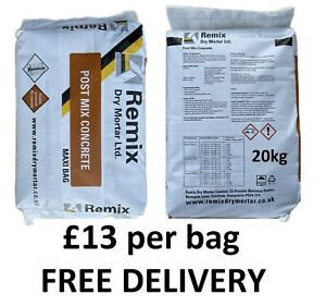 20kg REMIX Rapid Set Ready to Use Concrete Postmix Cement Used by the TRADE £13