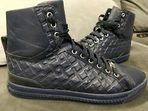 Versace Medusa Greek Key Mens High Top Navy Leather Sneakers Shoes Trainers