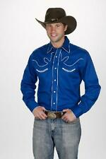 NEW! MEN'S RETRO COTTON WESTERN SHOW SHIRT S-4XL BLACK DENIM KHAKI RED ROYAL