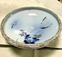 Japanese Imari Fukagawa Porcelain Plate Flower Fish Antique Meiji Old Japan Art
