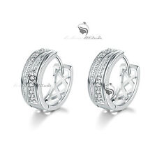 18k White gold gf made with swarovski crystal filigree huggies earrings