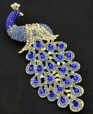 BEAUTIFUL PEACOCK BROOCH WITH BLUE DIAMANTES RHINESTONES IN GOLD SETTING BROACH