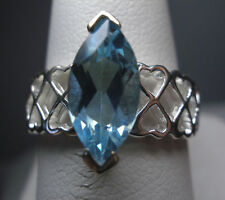 STERLING SILVER GENUINE BLUE TOPAZ SOLITAIRE RING