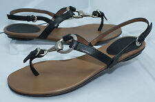 New Gucci Women's Sandals Soft Calf Black Shoes Size G 36 Strappy Thongs Leather