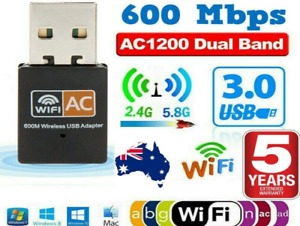 600Mbps Dual Band USB WiFi Wireless Dongle AC600 Lan Network Adapter 5GHz 2.4GHz