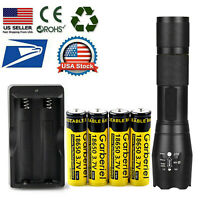T6 LED Flashlight +4X 18650 Battery Li-ion 3.7V Rechargeable Batteries + Charger