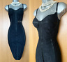 KAREN MILLEN UK 10 Black Lace Corset Style Cocktail Bodycon Super Stretch Dress