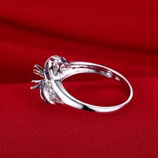 Natural Diamonds & Genuine Sapphires Gift Ring 5.5mm Round Cut 18K White Gold
