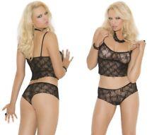Black Lace Cami Set W/Booty Shorts, 8-14, Elegant Moments, Sexy Lingerie, PJ's