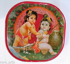 Vintage Tin Sweet box Hindu God Child Krishna image Religious India1980