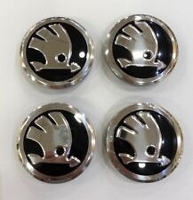 4X SKODA ALLOY WHEEL CENTRE CAPS BLACK/CHROME 56mm - FABIA VRS RS OCTAVIA VRS RS