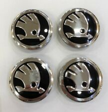 4X Skoda Roue Alliage Centre Caps Noir/Chrome 56 mm-Fabia VRS RS OCTAVIA VRS RS
