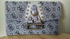 """GUESS Signature Tri Fold WALLET Cloth/Canvas Black Grey 6"""" by 4"""" ~ NEW!"""