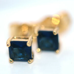 Small Womens Square Stud Earrings Gold Earings Jewelry Dark-Blue Stone Crystal