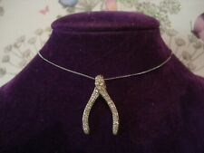 Beautiful,Finely Crafted: Sparkling Diamonds Set Lucky Wishbone 9CT Gold Pendant
