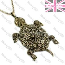 """BIG 4""""TURTLE PENDANT very long chain HEAVY NECKLACE antique gold TOPAZ crystal"""