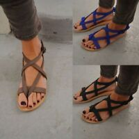 Women Bohemia Ankle Strappy Flats Open Toe Sandals Shoes Summer Beach Flip-Flops