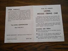 LIONEL MISSILE FIRING CAR 6544-12 6-60 Post War Color Photo Copy of Instructions