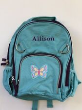 Pottery Barn Kids Small Fairfax Turquoise Backpack Butterfly Patch name ALLISON