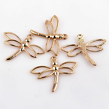 Hollow Dragonfly Tibetan Silver Charms Jewelry Making Plated Gold/Silver/Bronze