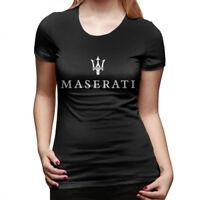 Womens Maserati Logo T-Shirt Short-Sleeve Crew Neck