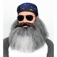 Big Biker Grey Beard and Moustache Set Fancy Dress Costume Accessory