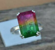 925 Sterling Silver Natural Watermelon Reddish Green Tourmaline Handmade Ring