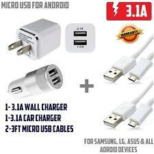 For Samsung S4 5 6 DUAL Charger Combo Kit Wall Car Charger 2 MIcro USB cables