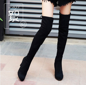 Womens Thigh High Boots Ladies Over The Knee Casual Office Mid Heel Shoes Size