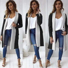 UK Women Ladies Long Sleeve Waterfall Cardigan Coat Open Front Jackets Size 6-16