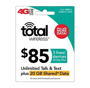 TOTAL WIRELESS  Prepaid $85 Refill Top-Up Prepaid Card ,PIN / RECHARGE