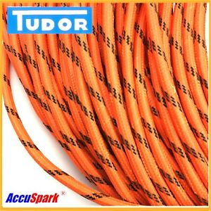 AccuSpark HT Lead Classic 8mm Braided Orangey Red per Meter
