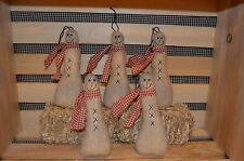5 Primitive Hanging SNOWMAN Ornies Doll Tucks CHRISTMAS Tree Ornaments Make Do;s