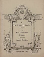WUNDER COLLECTION belle architettura Ornamento disegni master CATALOGO ASTA