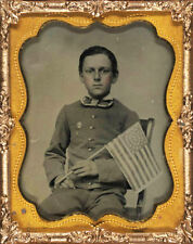 CIVIL WAR PHOTOGRAPH Unidentified boy holding 34-star flag