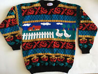 Vtg Arielle Goose Duck Sweater Country Farm Roses Womens Size M-L Fairy Kei USA