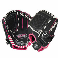 "NEW Youth original Rawlings Players Baseball Glove 10.5"" In Black Black Pink"