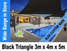 New Extra Heavy Duty Shade Sail- Right Angle Triangle 3m x4m x 5m Black Color