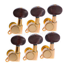 6 Left Gold Key Acoustic Guitar Tuning Pegs Machine Heads Amber Brown String Peg