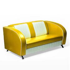 "AMERICAN SOFA ""Colorado"" COUCH 50er USA STYLE DINERBANK SITZBANK 180cm gelb"