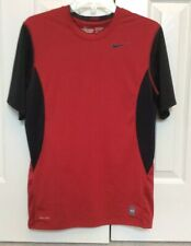 Mens Nike Pro Combat Fitted Shirt Red And Black Short Sleeves Medium 411521-649