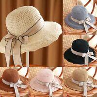 Women Summer Sun Beach Straw Hats Floppy Wide Brim Foldable Cap Ladies Bucket