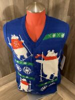 """""""UGLY"""" CHRISTMAS SWEATER VEST - BLUE - SIZE Large polar bear new with tags"""