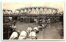 Postcard VTG GARDEN BRIDGE SHANGHAI CHINA REAL PHOTO POSTCARD RPPC Boat Junk A3