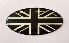 50 mm x 25 mm OVALE Union Jack Drapeau Autocollant/Décalque-chrome/noir-brillant en forme de dôme Gel