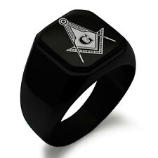 Stainless Steel Masonic Royal Compass Square Flat Top Biker Style Polished Ring