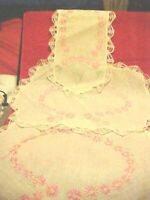 LOT OF 3 PIECES DOILIES PINK AND GREEN EMBROIDERY WITH LACE EDGES